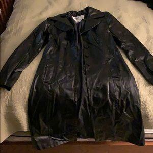 Black pleather trench coat jacket